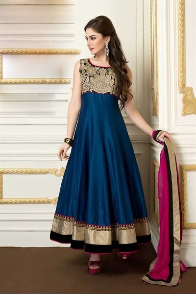pink and blue color suit crafted in cotton silk material. Heavy