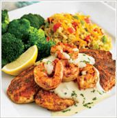 New Orleans Seafood:  ingredients  4 Tilapia filets  16 peeled and deveined raw shrimp  Cajun Spices  Olive Oil  Broccoli  1 Tomato diced  1 package of shredded casserole cheese  1 box Rice-a-Roni Pilaf  Alfredo Sauce1 Stick Butter  1 Cup Heavy Cream  1 cup Grated Parmesan Cheese  white pepper to taste  Combine all ingredients and cook over low heat until creamy consistency.