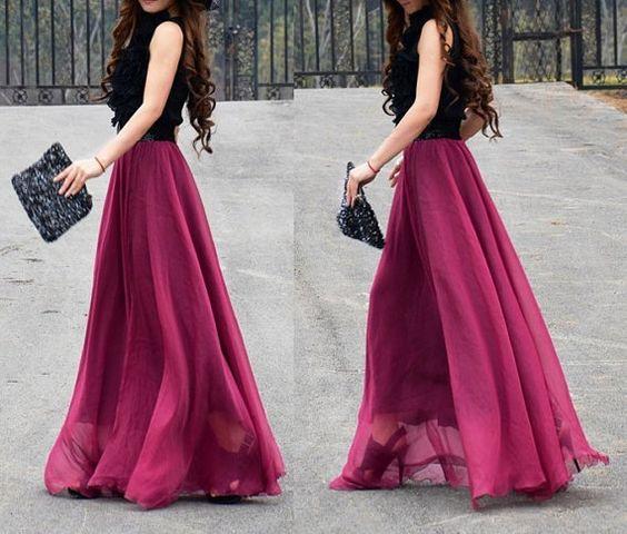 Burgundy Silk Chiffon Long Skirt Summer Long Dress by DidoCouture ...