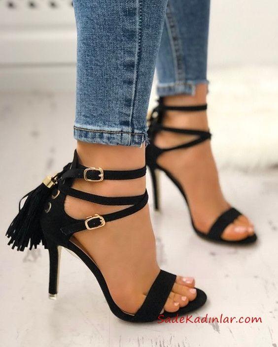 Yuksek Topuklu Ayakkabi Modelleri Siyah Bantli Bilekten Tokali Puskullu Topuklular Topuklu Ayakkabilar Topuklu Sandalet
