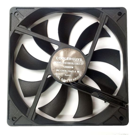 Coolerguys Slim Ultra Quiet 120x15mm dual ball bearing fan 3 pin fan #CG12015L12B2-3Y