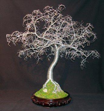 Wire, beaded, gem, bonsai tree sculptures by Sal Villano