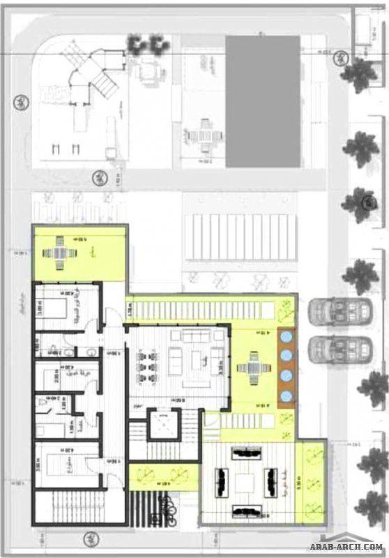 مخطط فيلا دورين وملحق علوي مساحة الارض المناسبة 34 في عمق 24 تصميم شركة فاس House Plans Floor Plans Design
