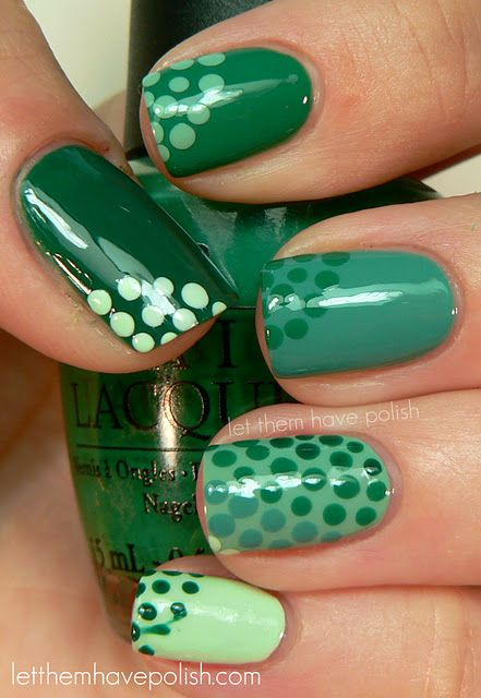 green polkadot nails how to: take a sewing needle and stick the pointy end into the eraser of a pencil then pour a few drops of nail polish onto a paper plate. Dip the circular end of the sewing needle lightly in the nail polish then put on nail