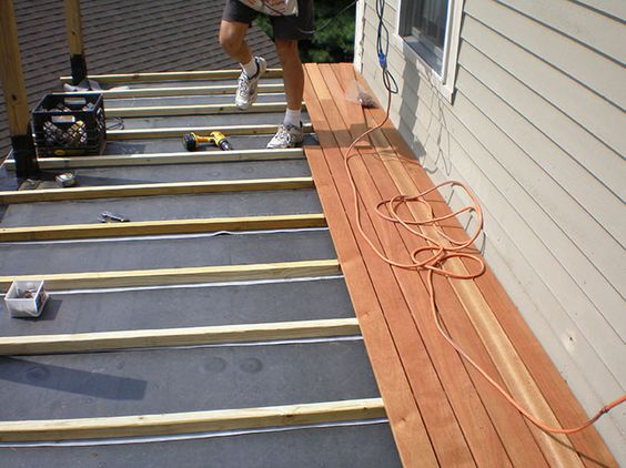 Can I Use Aluminum Or Plastic Sheeting Between Decking And Joists To Waterproof Under A Deck Deck Design Deck Framing Building A Deck