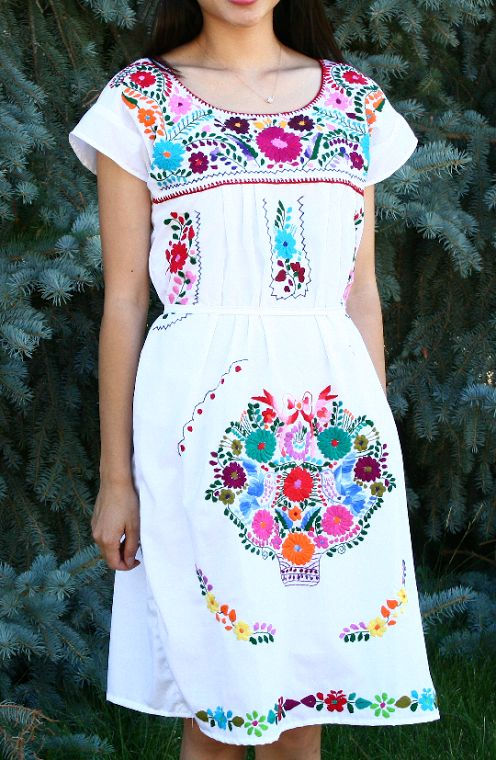 Creative Home  Clothing  Dresses  Navy Blue Mexican Embroidered Dress