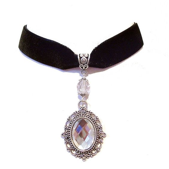 Julia Black Velvet Gothic Choker w Swarovski Crystal Clear ❤ liked on Polyvore featuring jewelry, gothic jewelry, goth jewelry, clear jewelry, gothic jewellery and clear crystal jewelry
