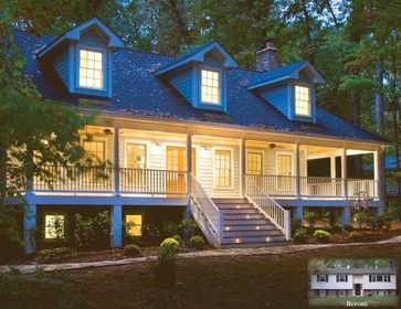 From split foyer to 3 story country style home with wrap for Exterior design specialists