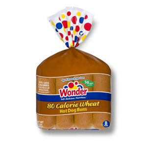 Wonder® 80 Calorie Wheat Hot Dog Buns- With all of the taste of Wonder and 33% fewer calories than leading wheat buns, Wonder 80 Calorie Wheat Hot Dog Buns give you more with less.