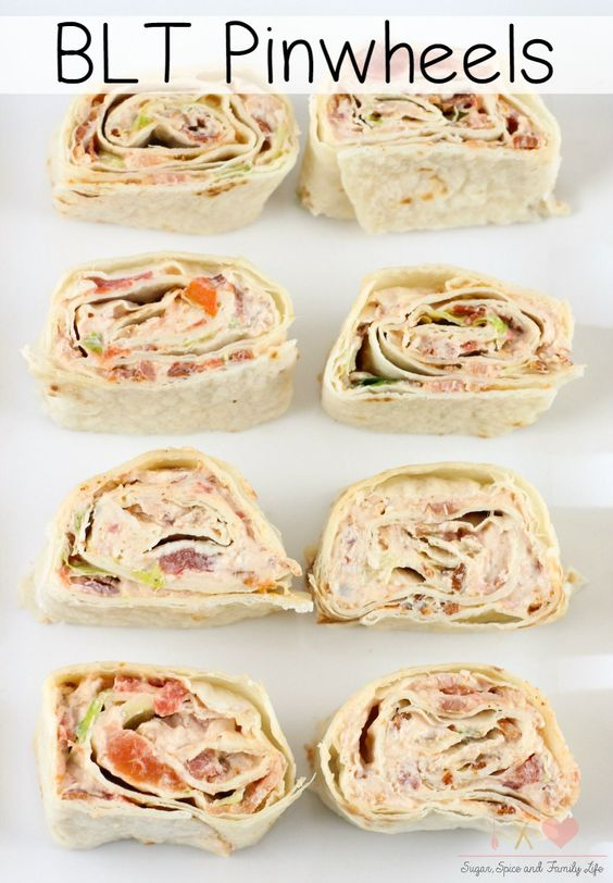 BLT Pinwheels are a delicious twist on BLT sandwiches. These tortilla roll ups are also great as an appetizer or party food. - BLT Pinwheels Recipe on Sugar, Spice and Family Life