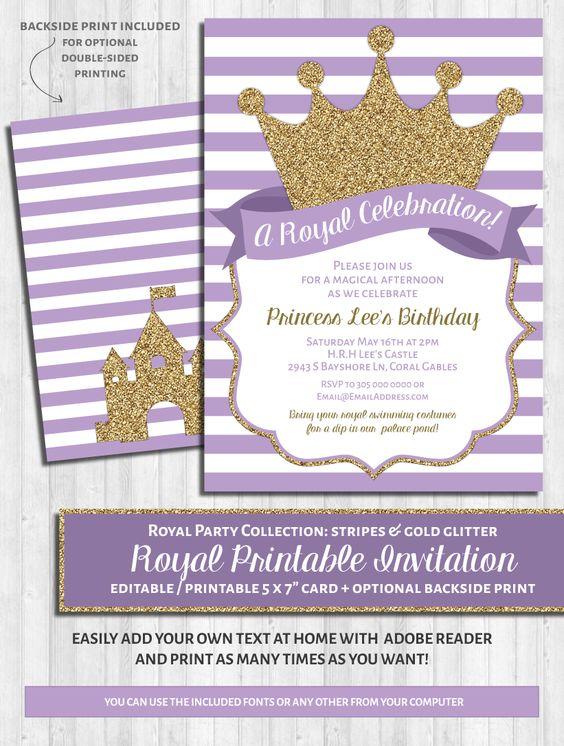 Princess Party Invitations: Purple & Gold Glitter