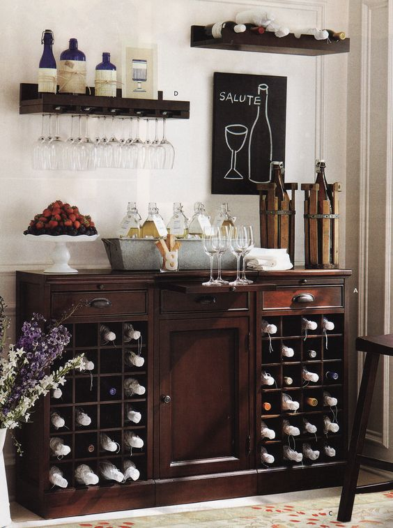 Furniture bar and wine on pinterest for Dining room bar ideas