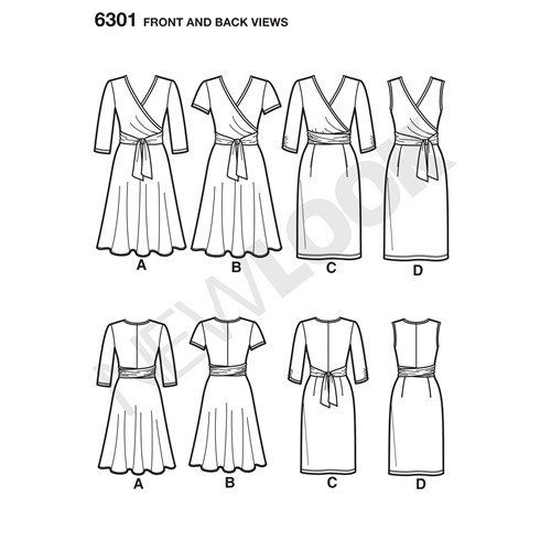 New Look Pattern 6301 Misses' Mock Wrap Knit Dress