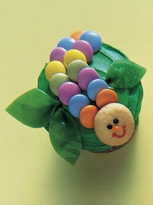 Colorful caterpillar cupcake.