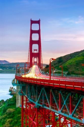 Sunset at the Golden Gate Bridge in San Francisco, California.
