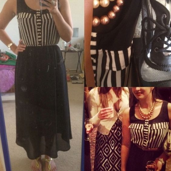 """Calling the Shots Chiffon like material. Skirt is partially lined but the top is not. Semi-sheer. Skirt hits about 2 inches below my knees; I am 5'4"""". Small flaw running through the buttons on the front of the dress. **Make me an offer! WILLING TO NEGOTIATE** Forever 21 Dresses"""