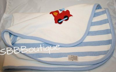 Elegant Baby White Blue Train Receiving Blanket Cotton Wide Stripes Swaddling
