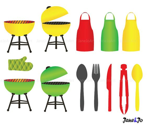 BBQ Clipart Barbeque Clipart Summer Clipart Grill by JaneJoArt