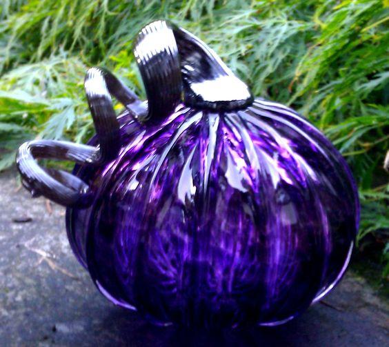 Halloween glass Pumpkin - Transparent Purple with Black stem.