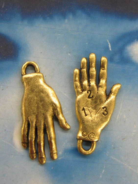 Antique Gold Plate Palmistry Hand Charms by dimestoreemporium, $3.00