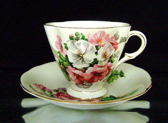 Vintage Windsor Bone China Pink White Flower Cup by JustSparkles