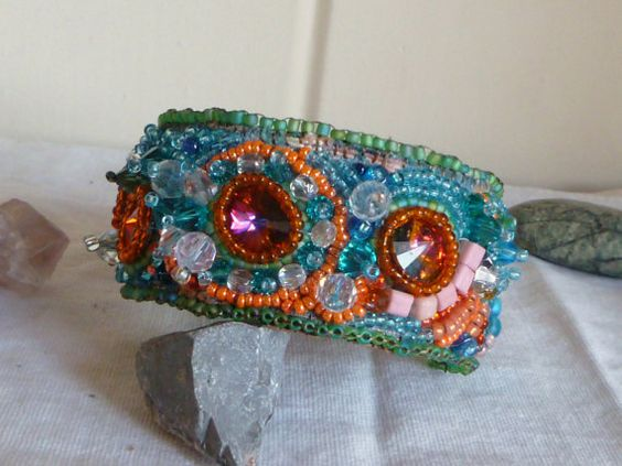 Crystal Encrusted Cuff Bead Embroidered Bracelet by GemRio on Etsy, $35.00