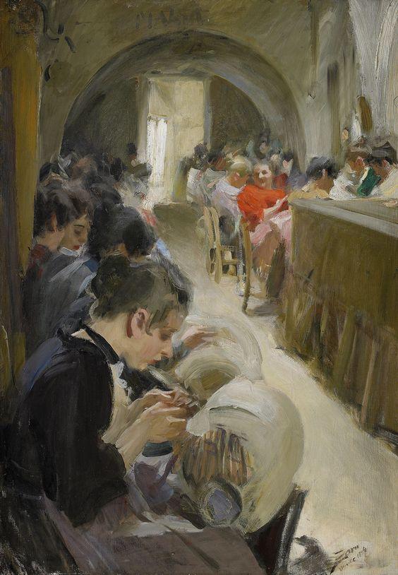 Les dentellières de Venise. Huile sur toile en 1894 de Anders Leonard ZORN (suédois 1860 - 1920)