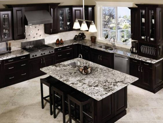 Best Black Cabinets With Grey Granite With Stone Blue Walls 400 x 300