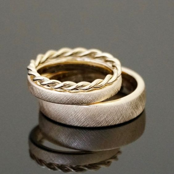 Anillo VINTAGE cuerda anillo SET de 8 k o 14 k