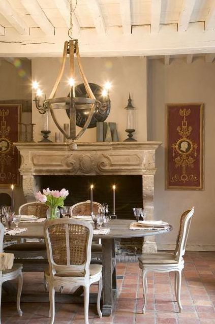 Rustic french farmhouse dining room for French country fireplace