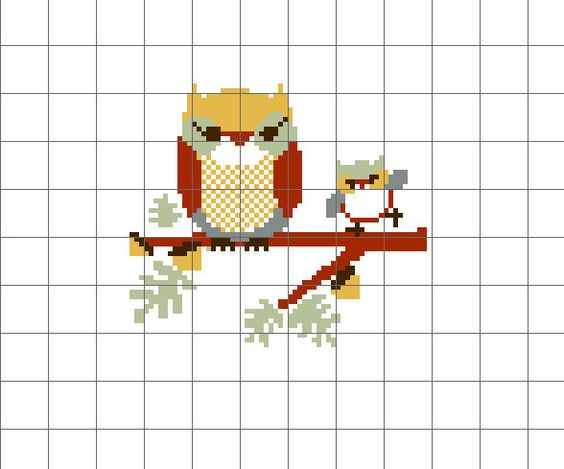 Pdf Pattern Owl And Owlet Counted Cross Stitch Traditional Colors 5 00 Via Etsy Cross Stitch Pdf Pattern Counted Cross Stitch