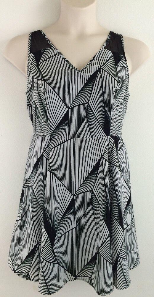 0x WORTHINGTON Black White Geometric Mesh V Neck Dress 12P Petite #Worthington #Sundress #Casual