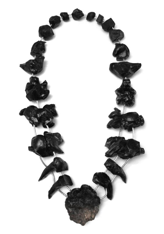 "Steven Gordon Holman -  Black Totem Neckpiece-  ""The Tribe was born out of the West Desert and contemporary hunting culture; its shaman the rabbit and its oracle the magpie.""  —:"