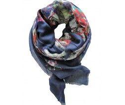 Foulard modal imprimé fleuri bleu marine BOLZANO
