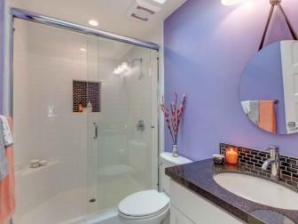 Purple Small Bathroom With Round Mirror