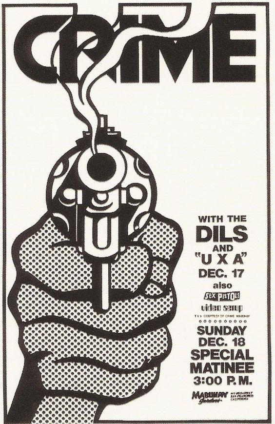 Crime, Dils & UXA @ Mabuhay Gardens. 1977. Art by James Stark