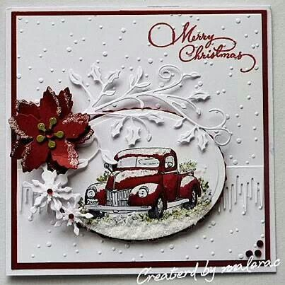 Love the vintage cars on Christmas cards....