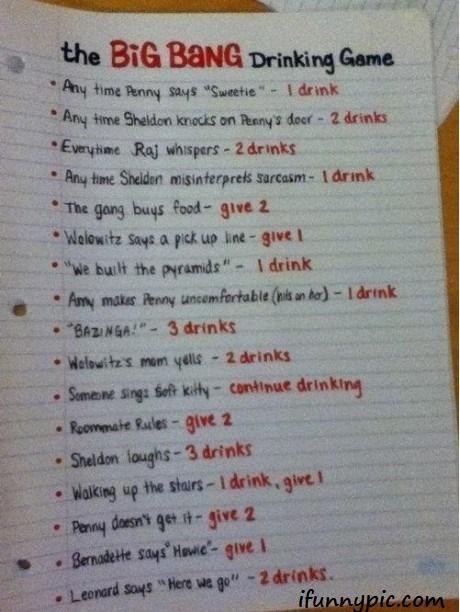 Big Bang Theory Drinking Game!