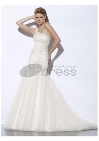 Trumpet applique one-shoulder wedding dresses 2012