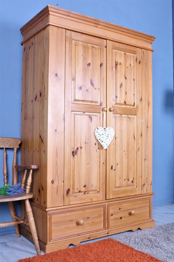 250 Pine Farmhouse Wardrobe With 2 Drawers Comes In 4 Sections So Most Stairs Will Be Accessible Solid Thick Pin In 2020 Pine Furniture Furniture Dove Tail Joints