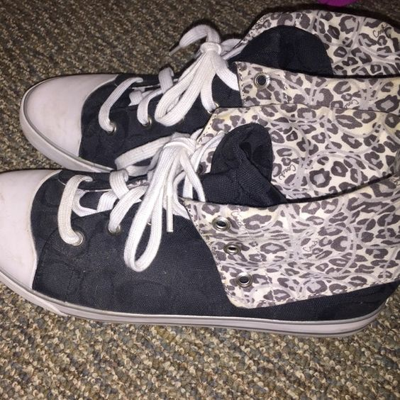 Coach High Tops! Authentic Coach high top sneakers with leopard print! Coach Shoes Sneakers