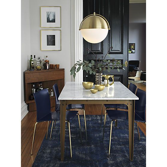 Slim navy chair globe pendant light dining tables and for Dining room globe lighting