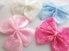40 Pink,White,Blue Organza Ribbon Sheer Butterfly Bow/sewing/trim/bow/craft F56 $4.95 (40 ct)