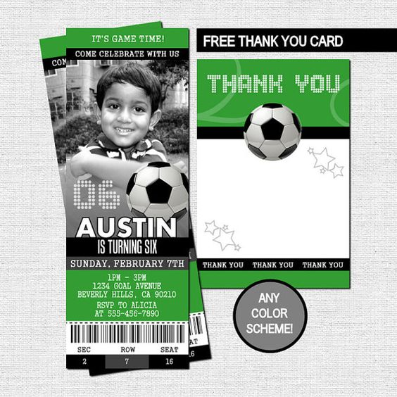 SOCCER TICKET INVITATIONS  + Free Thank You Card (Printable Birthday Files)  by nowanorris on Etsy