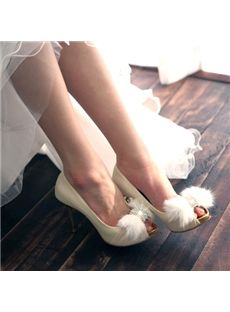 White Rhinestone Stiletto  Heels Wedding Shoes