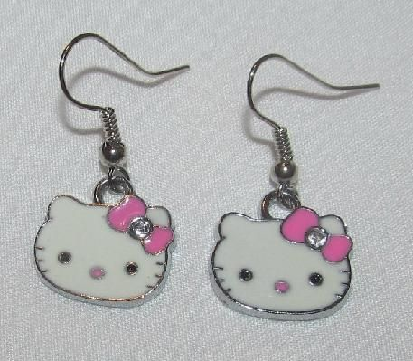 Hello Kitty Handmade Earrings Pink Bow FREE SHIP