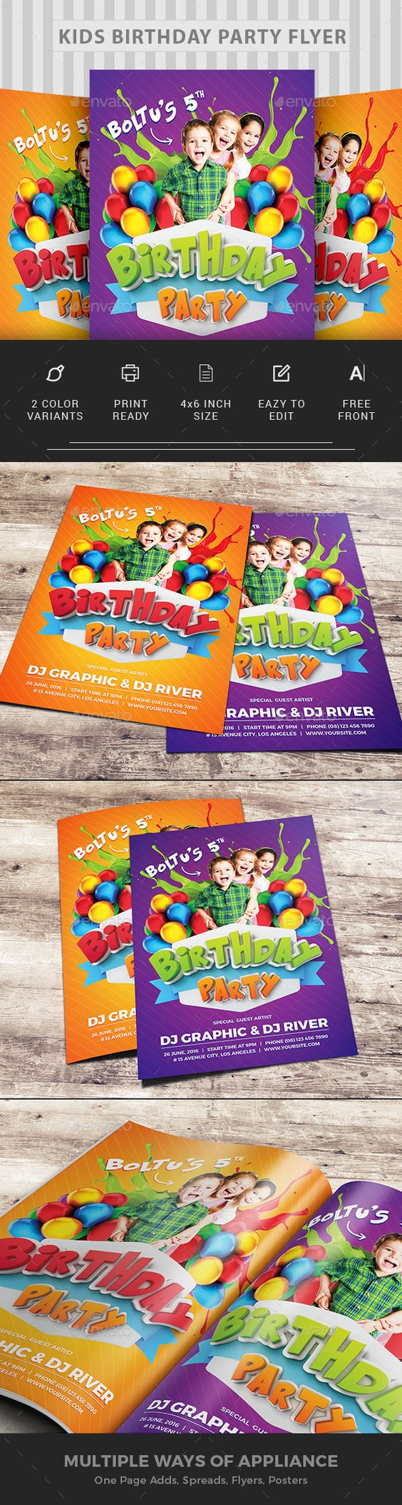 kids birthday party invitation flyer template design and birthdays kids birthday party flyer design invitation clubs parties event flyer template psd
