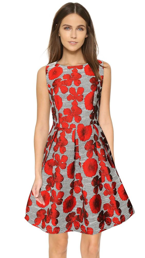 Eliza J Green Floral Print Faille Fit & Flare Dress red