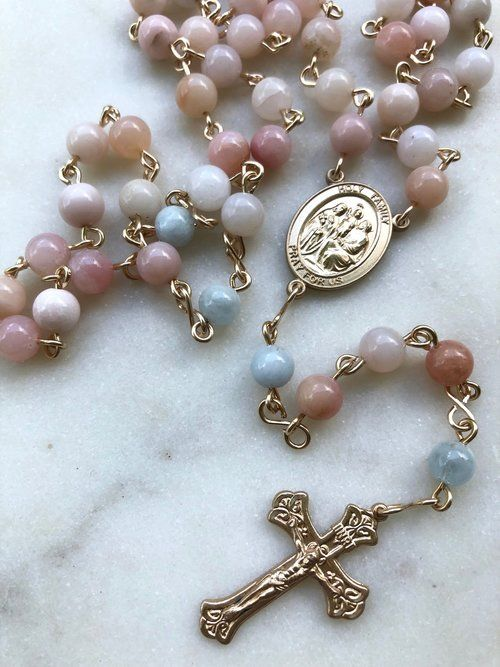 Gold Rosary round glass iridescent beads,Baptism Rosary beads,Brides Rosary round beads,Catholic Gift,Vintage Gold Rosary beads