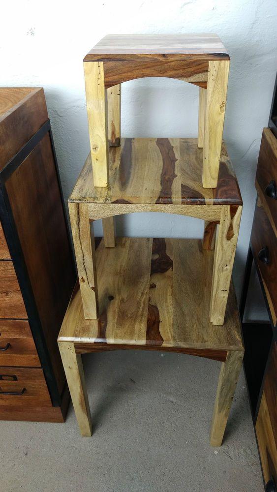 MassivholzBeistelltisch Tisch im 3er SetSheeshamHolz Sofatisch…